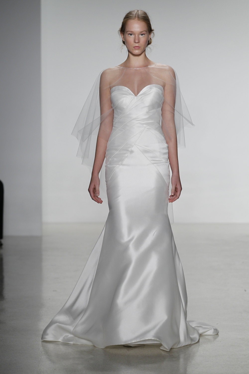 Delaney- Mikado trumpet wedding dress with sculptural bodice seaming and skirt godets