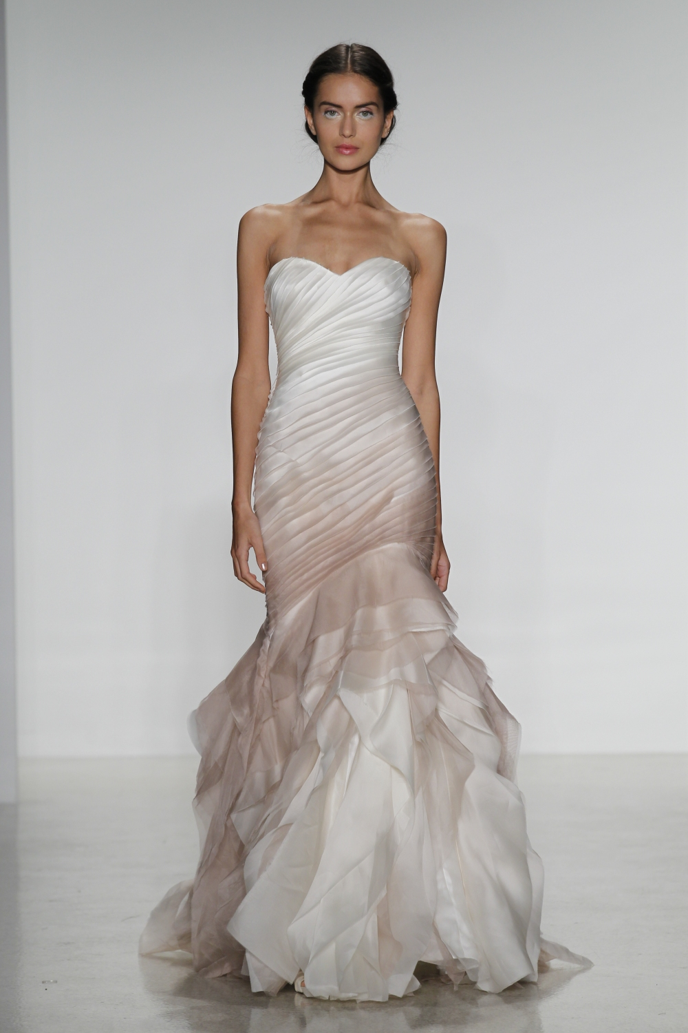 silk organza fit to flare wedding dress with raw edge layered bodice in vintage rose ombre and cascading slim skirt,