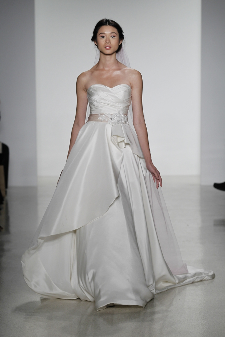 Genevieve- silk shantung draped ball gown wedding dress with peplum style detail on skirt