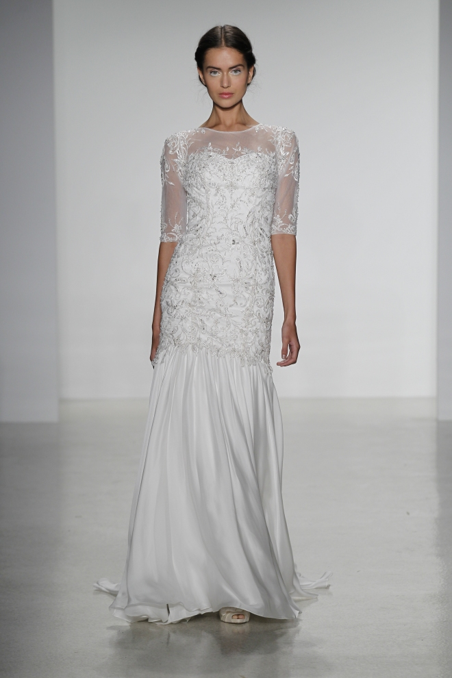 Luz- slim embroidered mermaid wedding dress with sheer illusion neckline and silk satin faced chiffon skirt