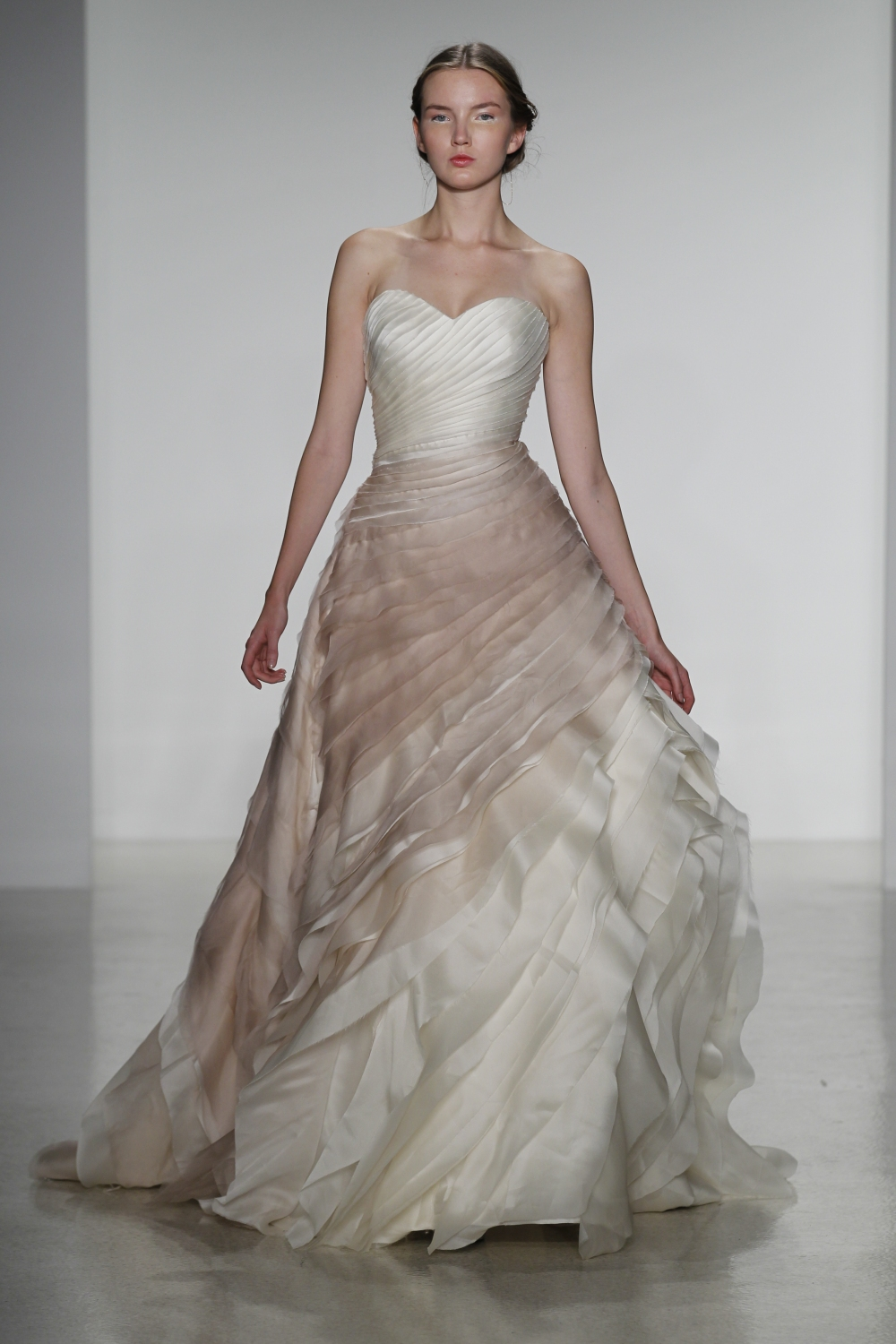 Thea- silk organza ball gown wedding dress with raw edge layered bodice in vintage rose ombre cascading full skirt,
