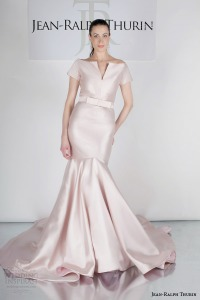 jean-ralph-thurin-bridal-spring-2015-johanna-short-sleeve-blush-colored-wedding-dress