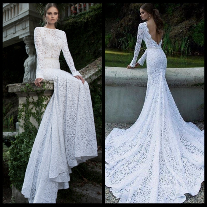 2014-Popular-Lace-Mermaid-Wedding-Dresses-High-Collar-Sexy-Backless-Long-Sleeve-Chapel-Train-Bridal-Gown
