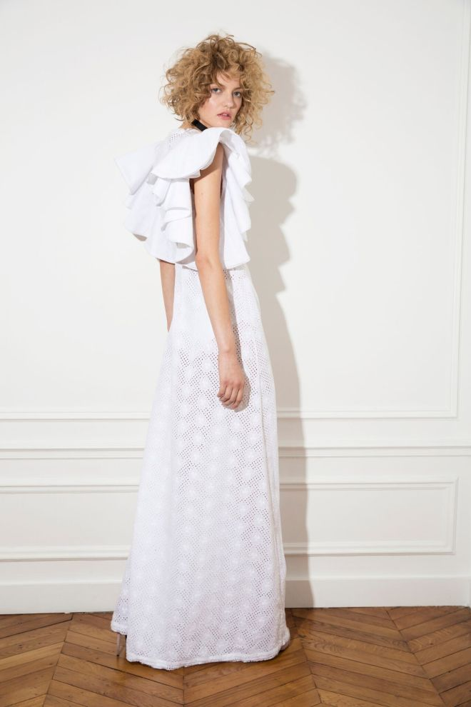 i can feel your halo dress in white cotton broderie anglaise