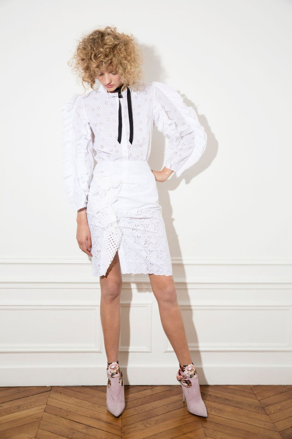 i never really had a double shirt and dont ask me skirt in white cotton broderie anglaise